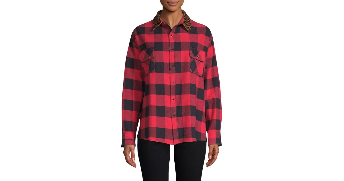 c8c97be7d02 The Kooples Women's Silk Buffalo Check Shirt - Burgundy in Red - Lyst