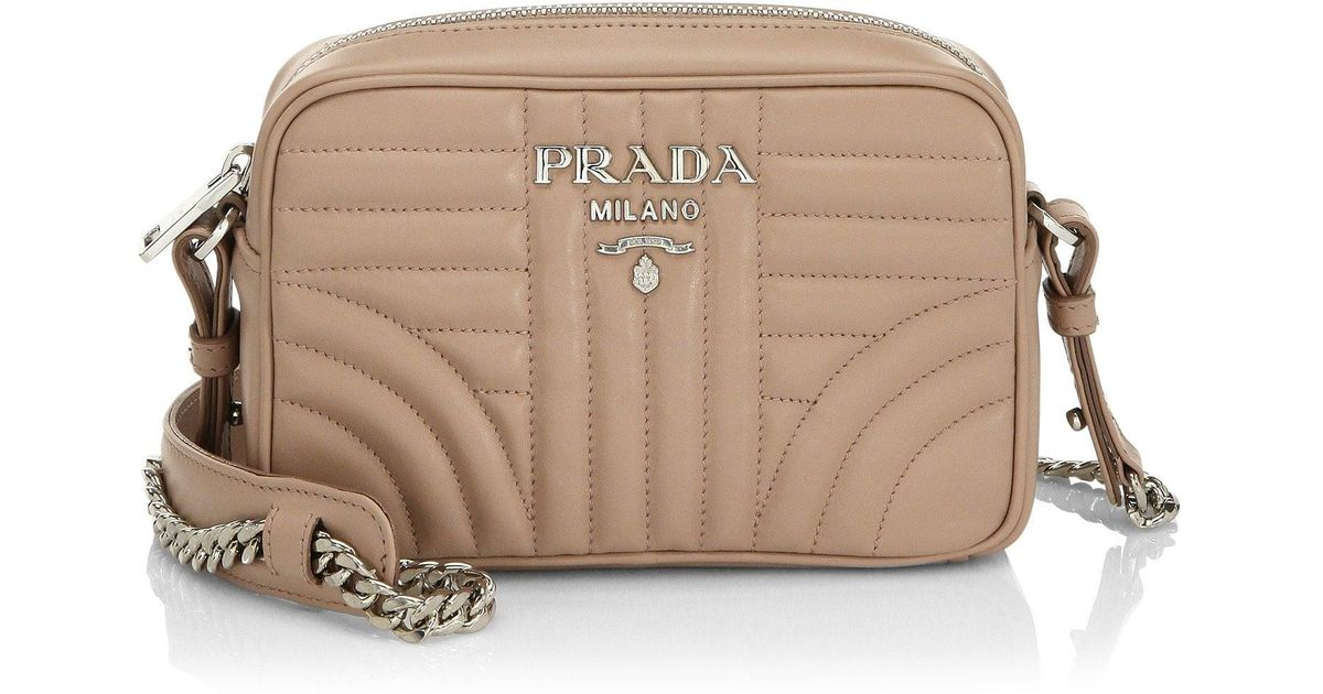 a09304c84 Prada Small Diagramme Leather Camera Bag in Brown - Lyst