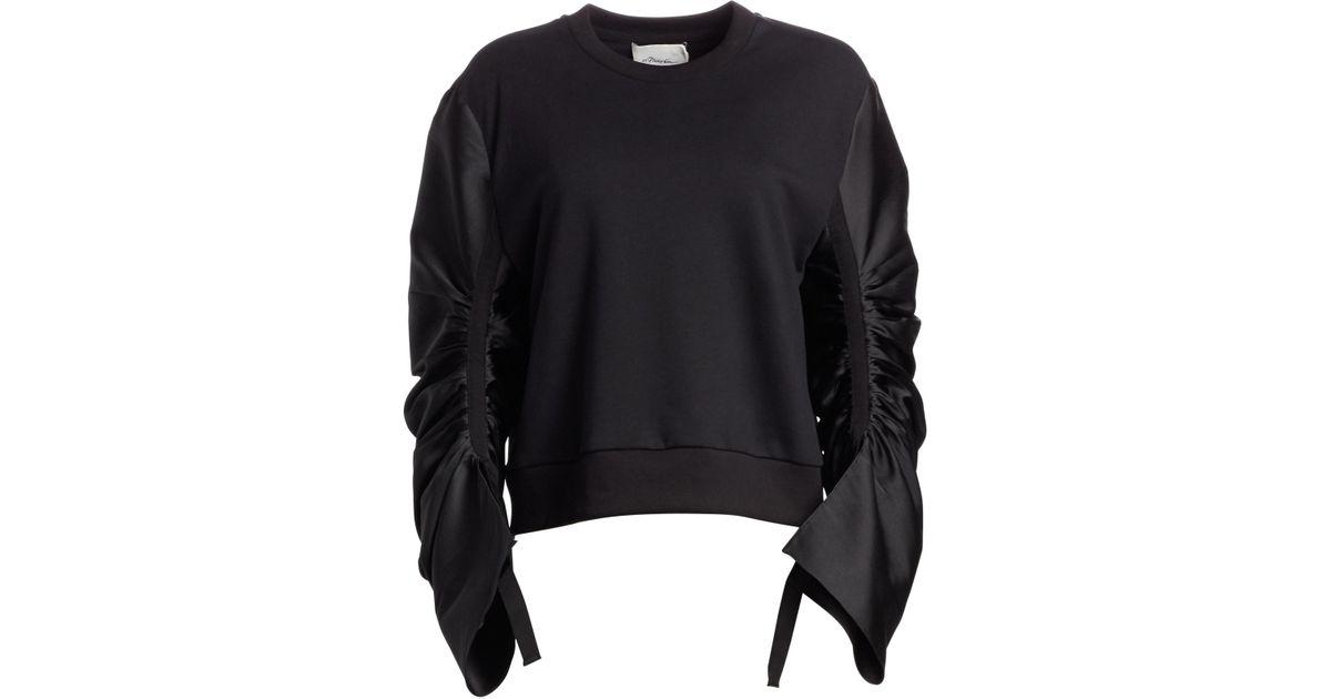 f33f9d48b2eee7 Lyst - 3.1 Phillip Lim Women's Gathered-sleeve French Terry Sweatshirt -  Black in Black