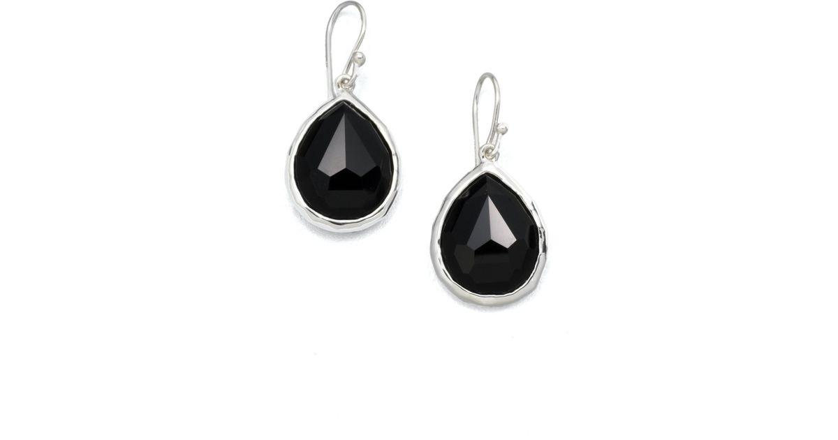 0e04d8cf636 Lyst - Ippolita Rock Candy Black Onyx   Sterling Silver Mini Teardrop  Earrings in Black
