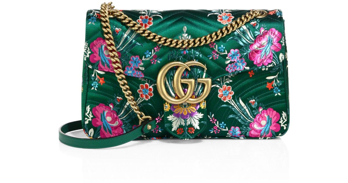 07f7acb4429 Gucci Small Gg Marmont Matelasse Floral Jacquard Chain Shoulder Bag in Green  - Lyst