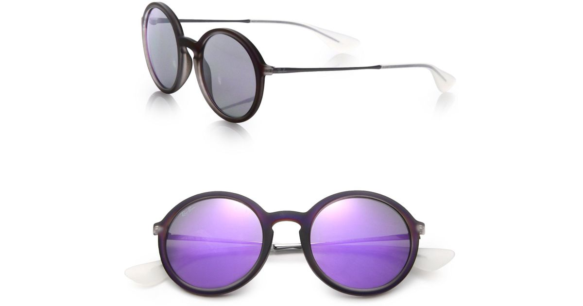 0c886d5a0a Lyst - Ray-Ban Mirrored 50mm Round Sunglasses in Purple