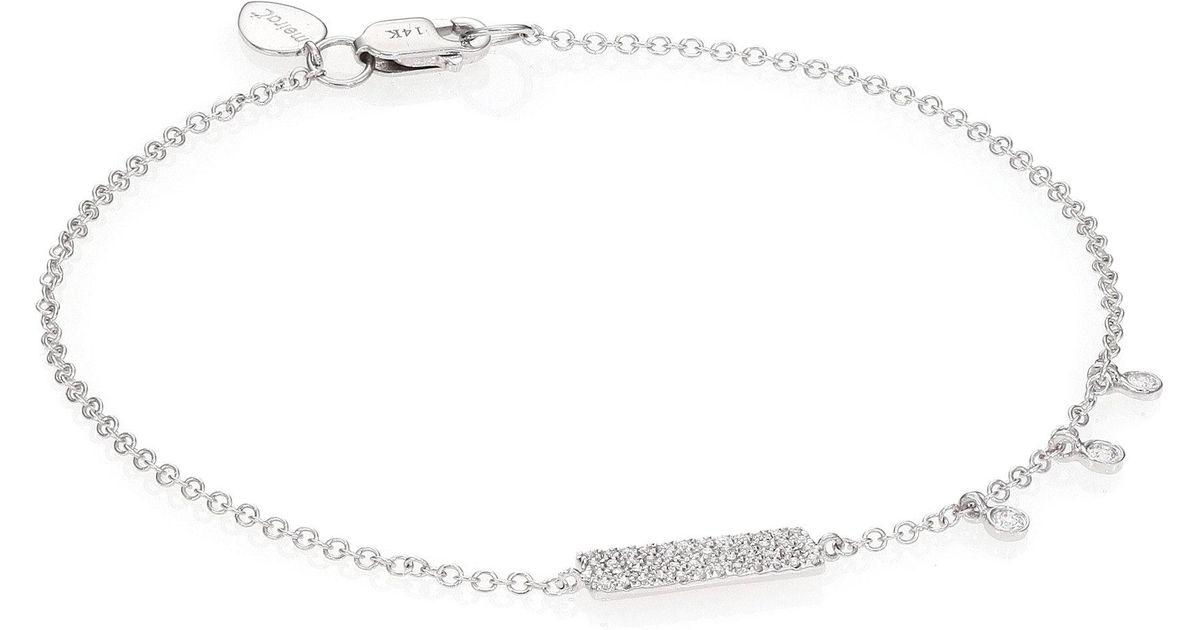 Meira t Diamond & 14k White Gold Bar Bracelet in Metallic