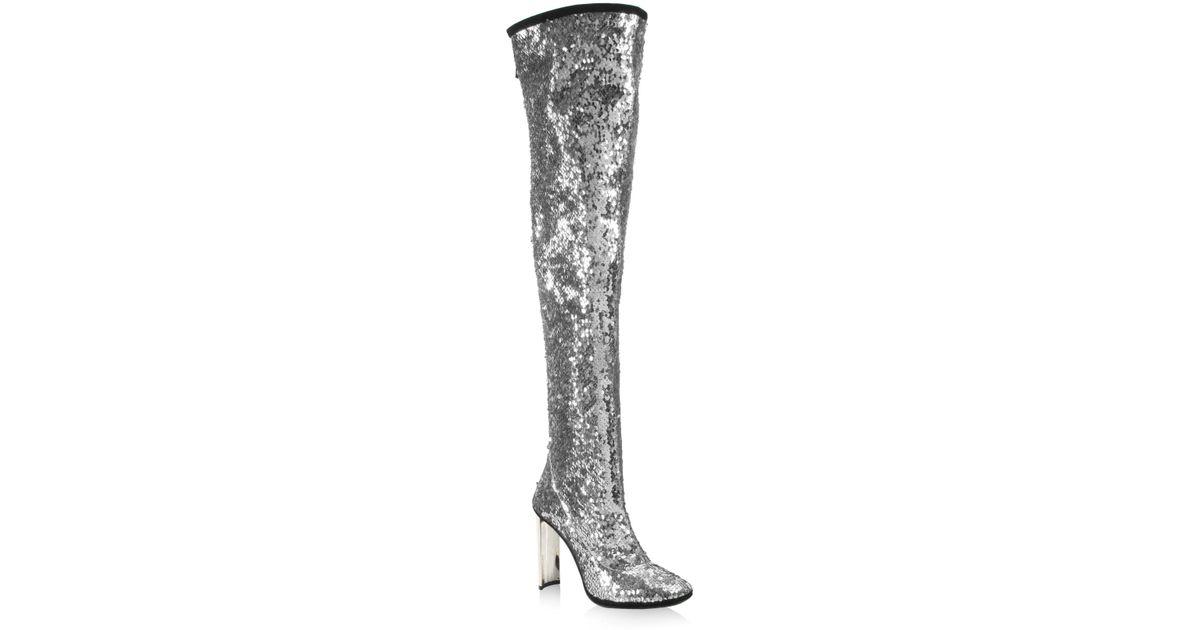 67a57adae2b Lyst - Giuseppe Zanotti Sequin 105 Metallic Over-the-knee Boots in Metallic