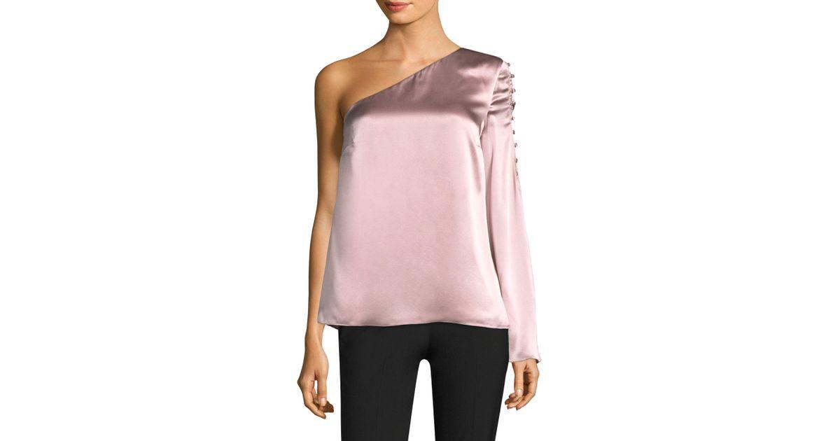 afa188cbfe71fe Lyst - Parker Ripley One Shoulder Silk Top in Pink