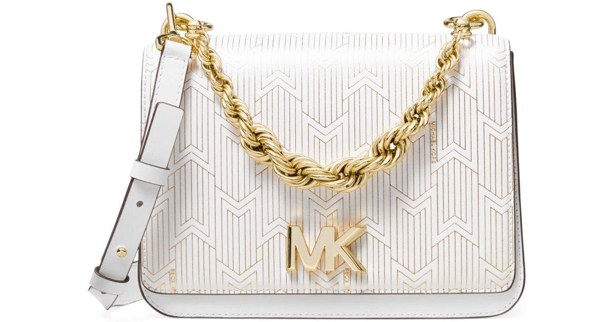 8f3ec994d64 Lyst - MICHAEL Michael Kors Large Mott Twisted-chain Swag Crossbody Bag in  White