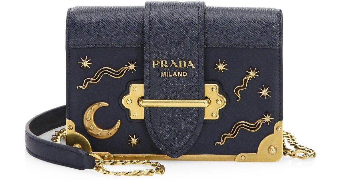 693b051b2ac6 Prada Cahier Studded Leather Crossbody Bag in Blue - Lyst