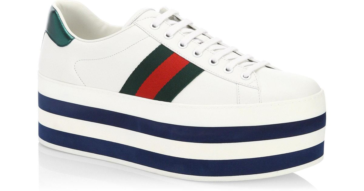7c53379f7c1 Gucci New Ace Leather Platform Sneakers in White - Lyst