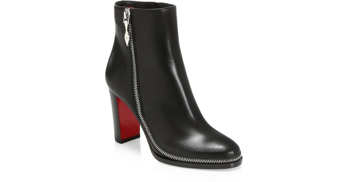 cca83fb242e8 Christian Louboutin Telezip 85 Leather Booties in Black - Lyst