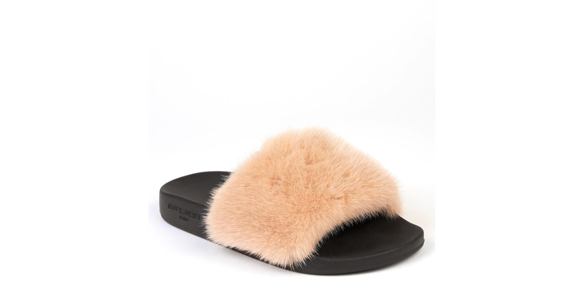 c4a5325e372f Lyst - Givenchy Mink-fur And Rubber Slides in Natural