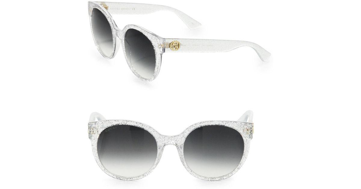 f09f112b4fa Lyst - Gucci 54mm Glitter Cat Eye Sunglasses in Metallic
