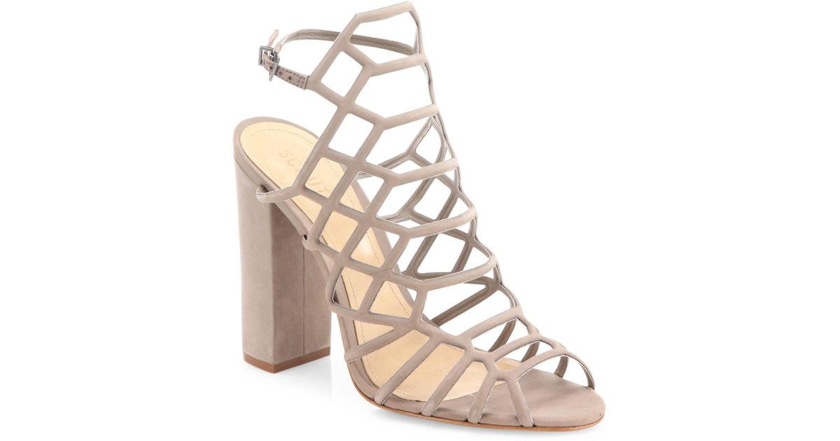 5d87a782c0e8 Lyst - Schutz Jaden Caged Suede Block Heel Sandals in Natural