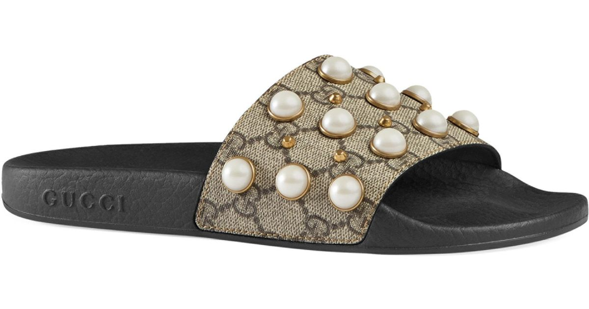 Gucci Pursuit Pearly Embellished GG Supreme Slides 91xif7cSAr