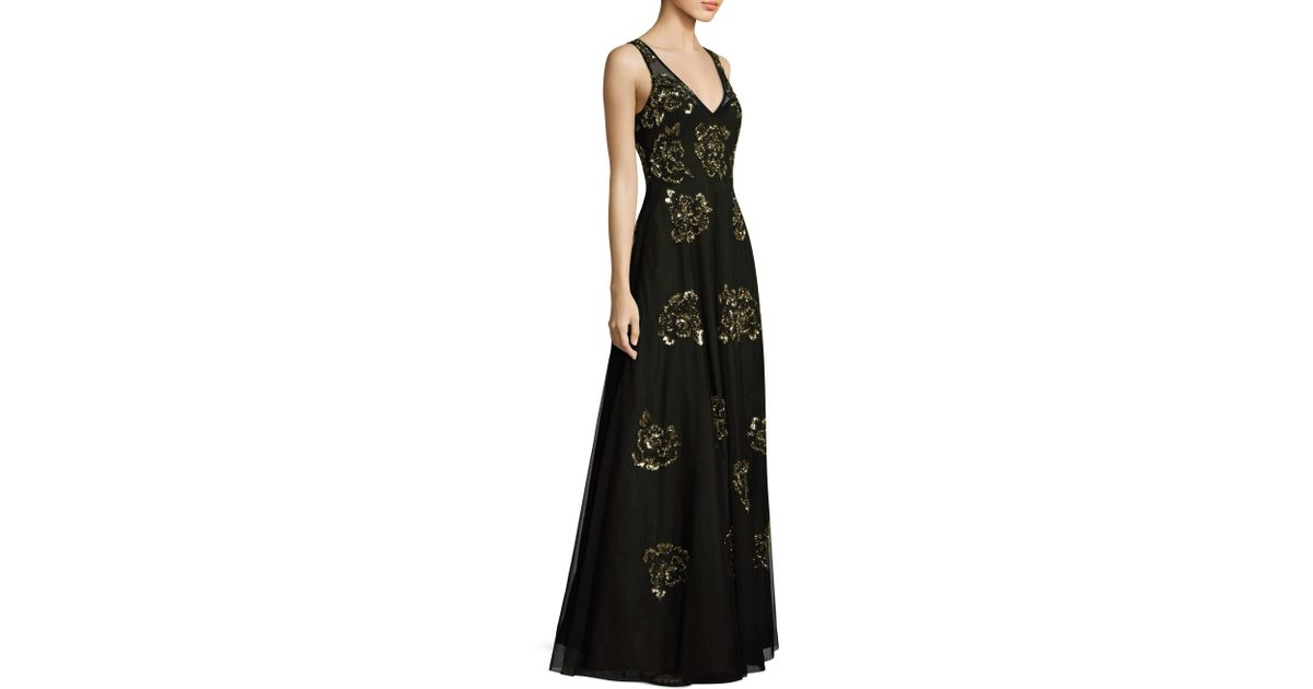 Lyst - Aidan Mattox Golden Flower Sequin Gown in Black