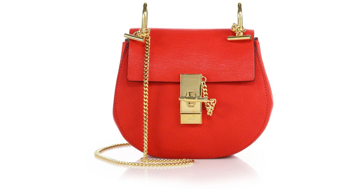 Image result for Chloé Mini Drew Leather Saddle Bag red