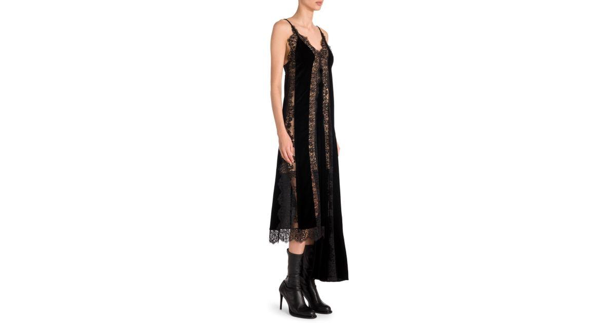 b8f8de6ed86e Stella McCartney Lingerie Asymmetric Velvet & Lace Slip Dress in Black -  Lyst