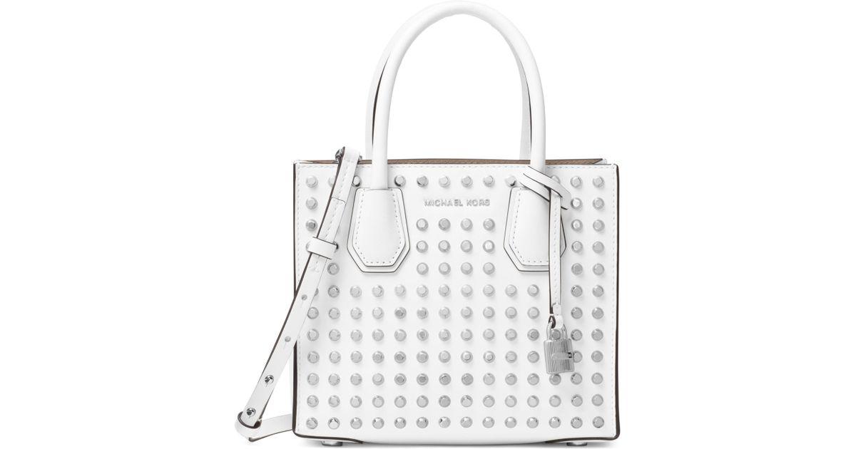 1ca48be9d737 MICHAEL Michael Kors Mercer Stud & Grommet Leather Messenger Bag in White -  Lyst