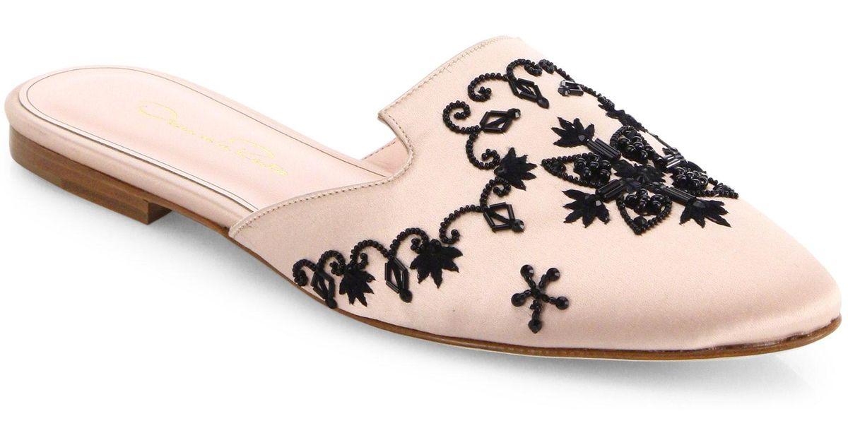 Oscar de la Renta Embroidered Satin Flat Mules aP13Bt