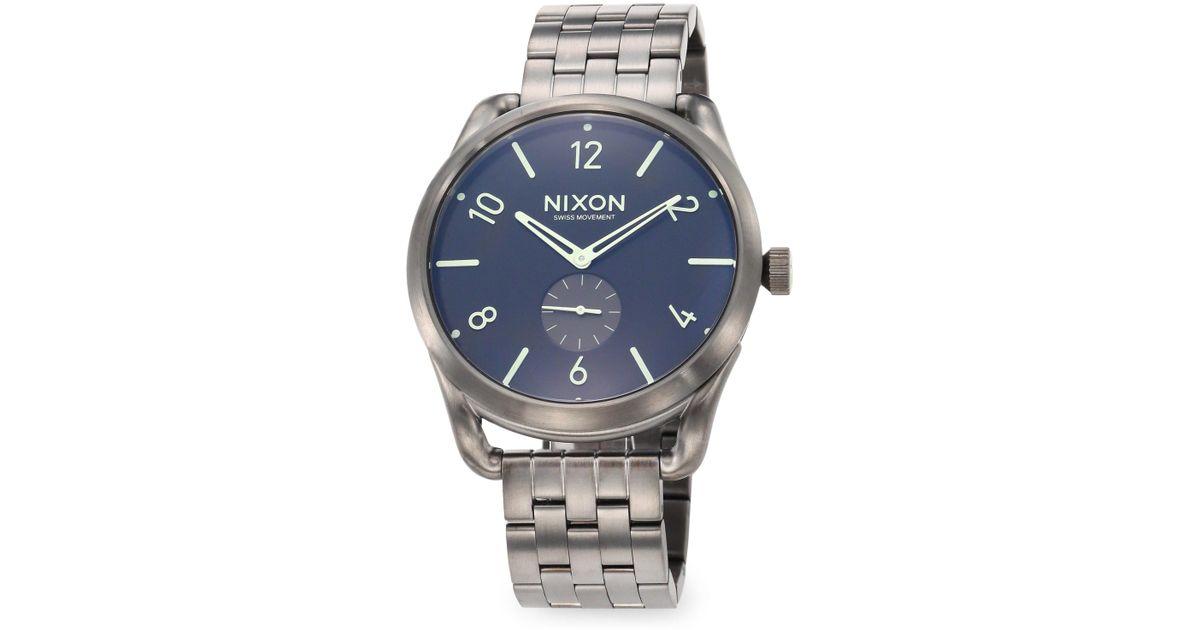 f4e4d3ace3e Nixon Men s C45 Stainless Steel Chronograph Bracelet Watch - Gunmetal in  Metallic for Men - Lyst
