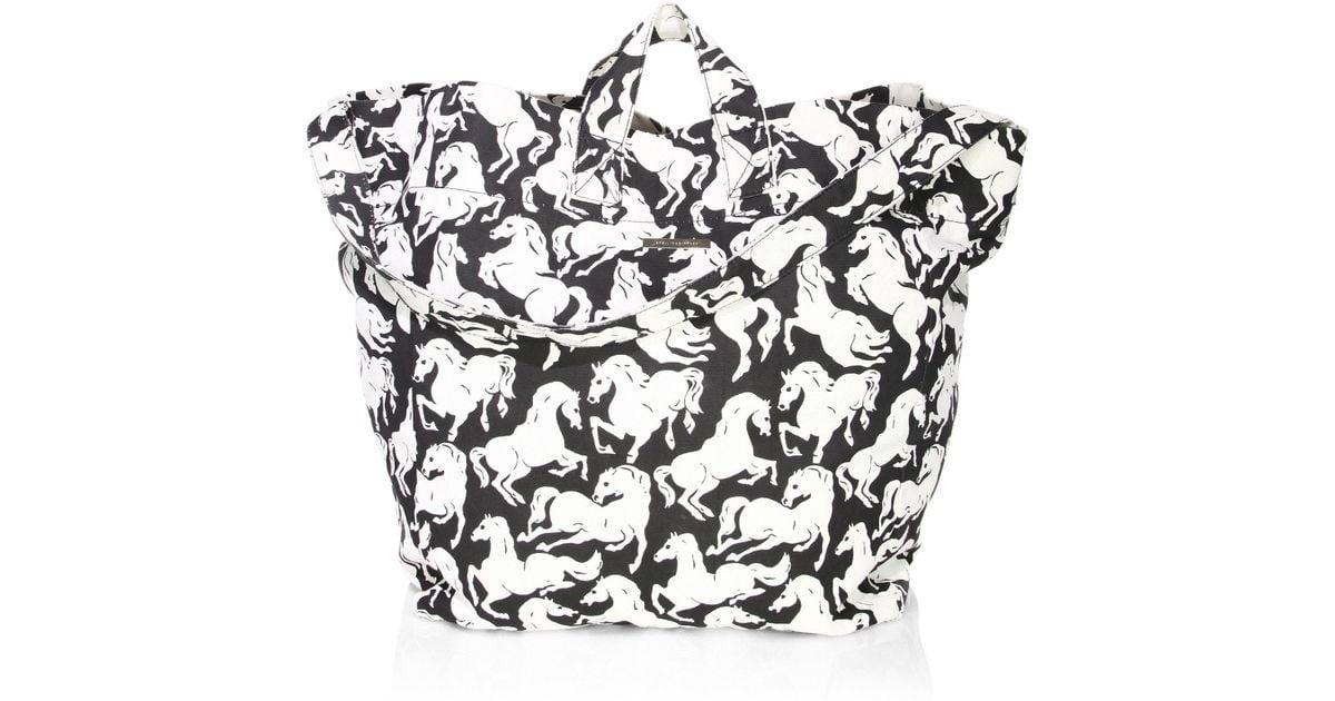 3f5ccd99e7 Lyst - Stella McCartney Horse Cotton Beach Bag in Black