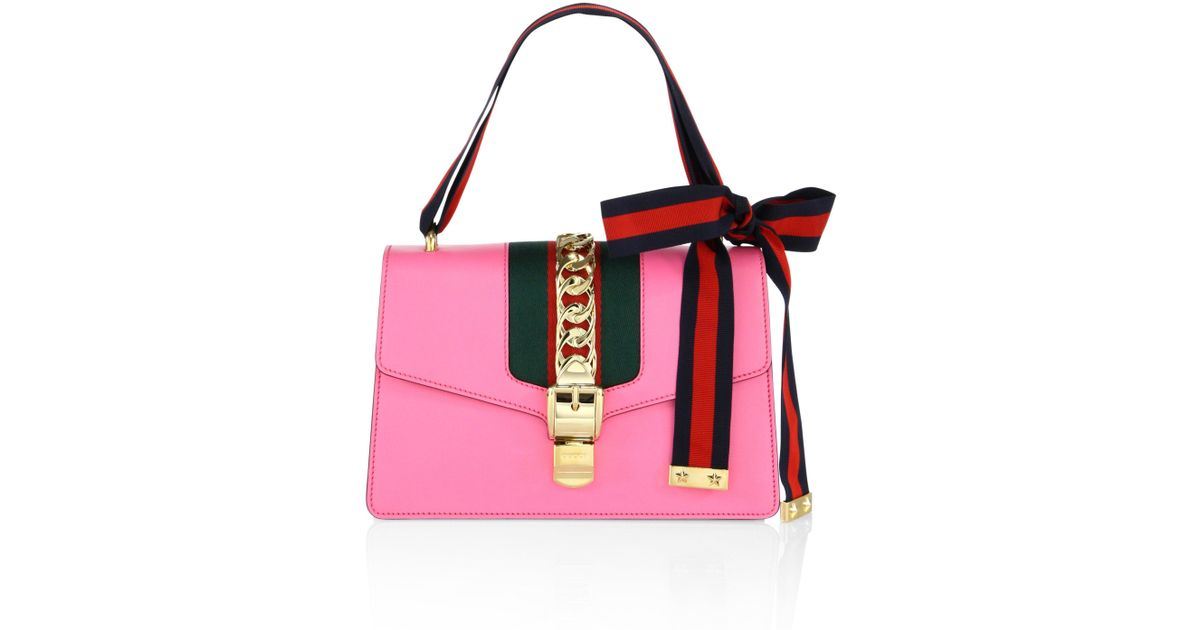a72ec71cb607 Lyst - Gucci Sylvie Leather Shoulder Bag in Pink