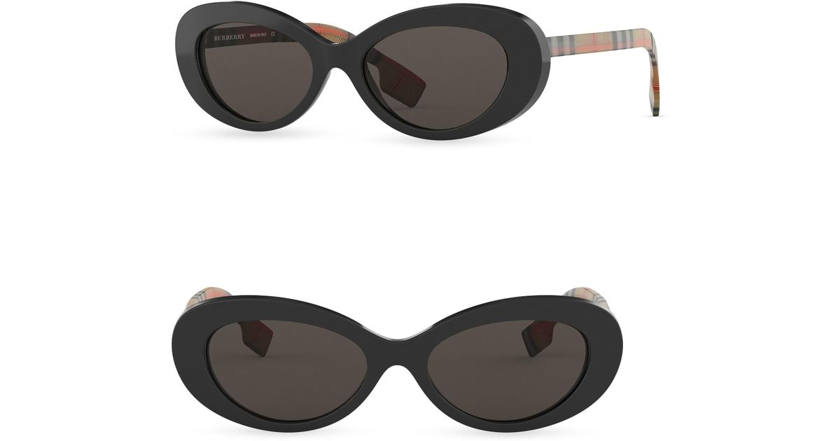 3ad2a1753e Lyst - Burberry Men s 54mm Vintage Check Cat Eye Sunglasses - Black in  Black for Men