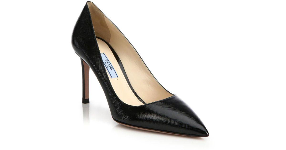 667d5f74379 Lyst - Prada Saffiano Leather Point Toe Pumps in Black