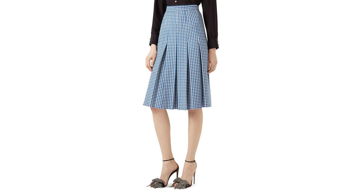 gucci pleated wool midi skirt in blue lyst