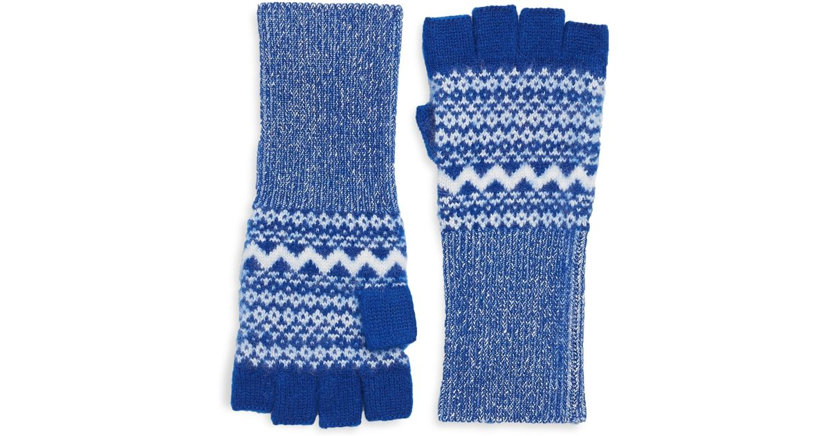 Burberry Cashmere Fair Isle Fingerless Gloves in Blue | Lyst