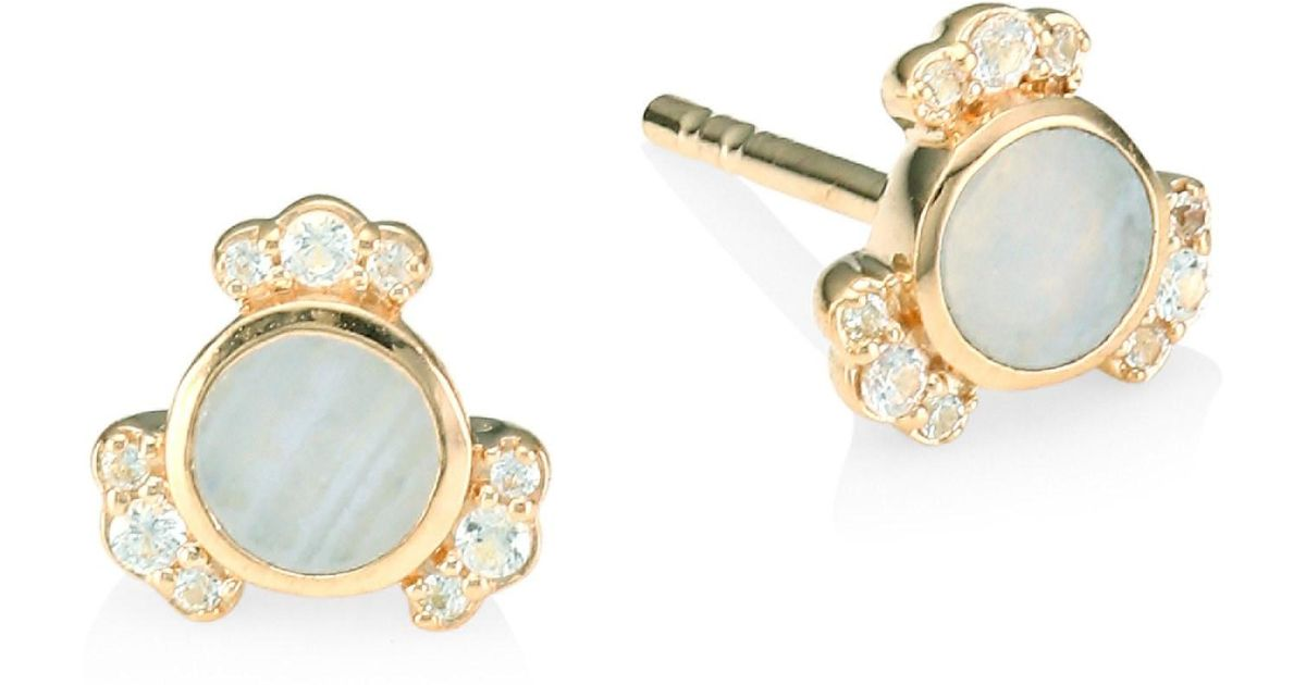 07a659bf0 Lyst - Astley Clarke 18k Rose Goldplated Lace Agate & White Sapphire Stud  Earrings - Rose Gold
