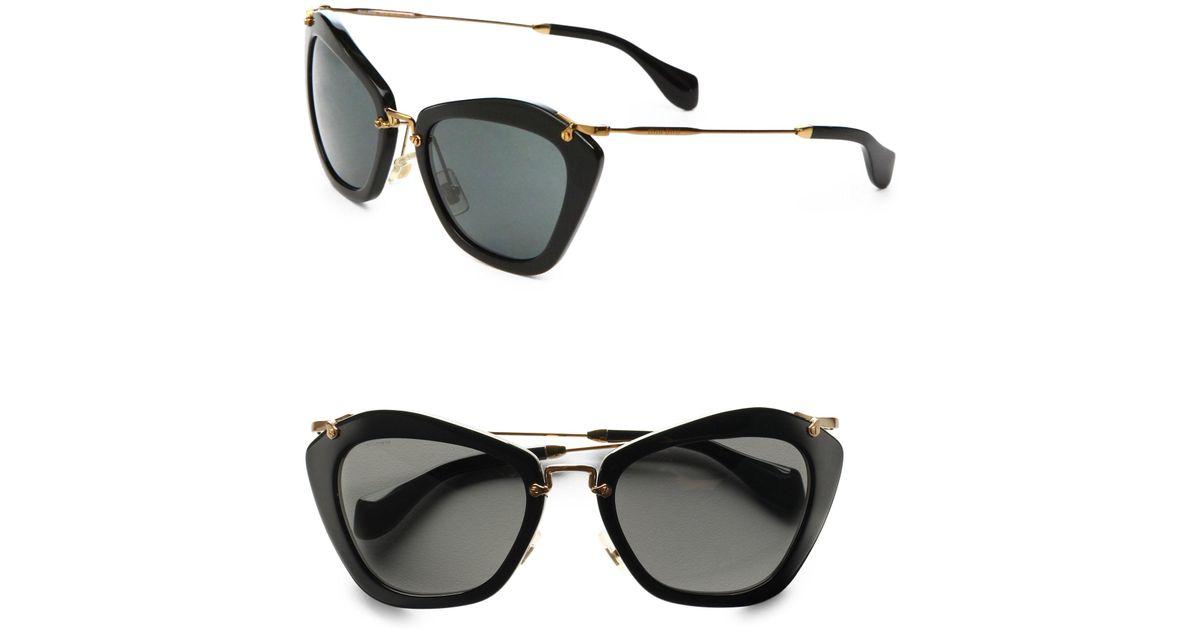 1fb78f9c6bb40 Miu Miu Women s Noir Catwalk Cat Eye Sunglasses - Black in Black - Lyst