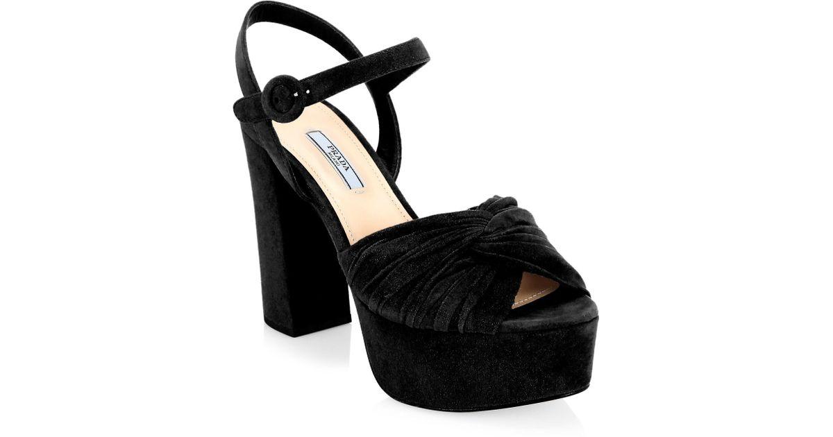 bbff089ea513 Lyst - Prada Knotted Platform Sandals in Black - Save 64%