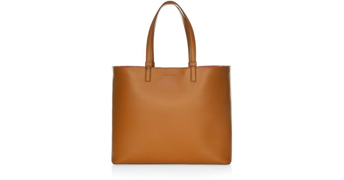 Lyst - Ferragamo Medium Scarlet Leather Tote in Brown 81799686fe70e
