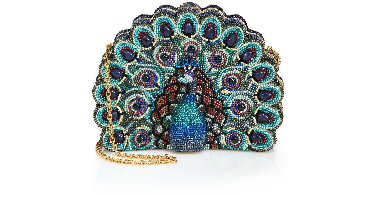 aa3fc6ec36 Lyst - Judith Leiber Swarovski Crystal   Sodalite Peacock Clutch in Blue