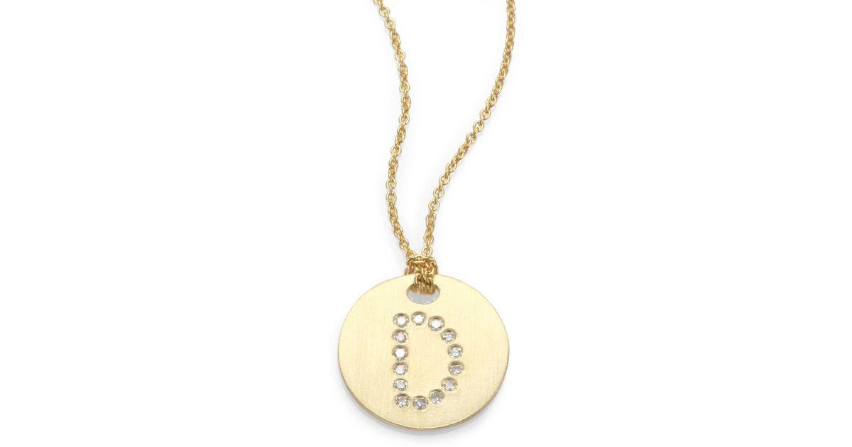 Lyst roberto coin tiny treasures diamond 18k yellow gold initial lyst roberto coin tiny treasures diamond 18k yellow gold initial pendant necklace in metallic mozeypictures Gallery