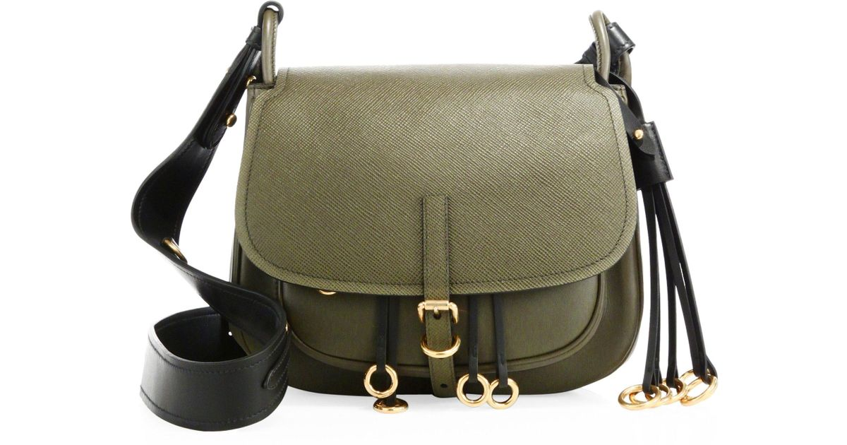 a7b44508a98 Prada Corsaire Leather Shoulder Bag in Green - Lyst