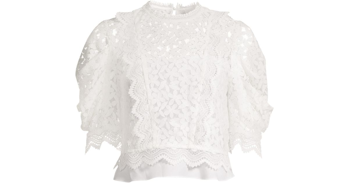 c8e6bb7c329d8c Lyst - MILLY Felicity Floral Lace Puff-sleeve Top in White