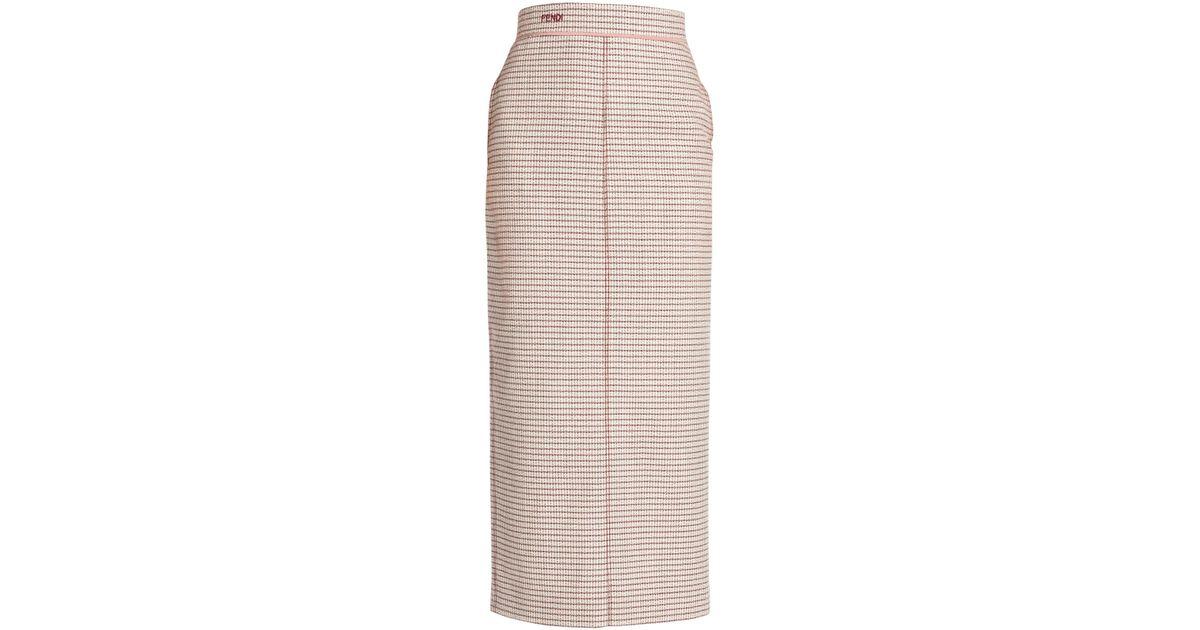 377516547542 Lyst - Fendi Check Midi Pencil Skirt in Pink