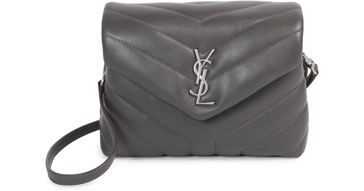Lyst - Saint Laurent Toy Loulou Calfskin Leather Crossbody Bag in Gray 6300aed5d6008