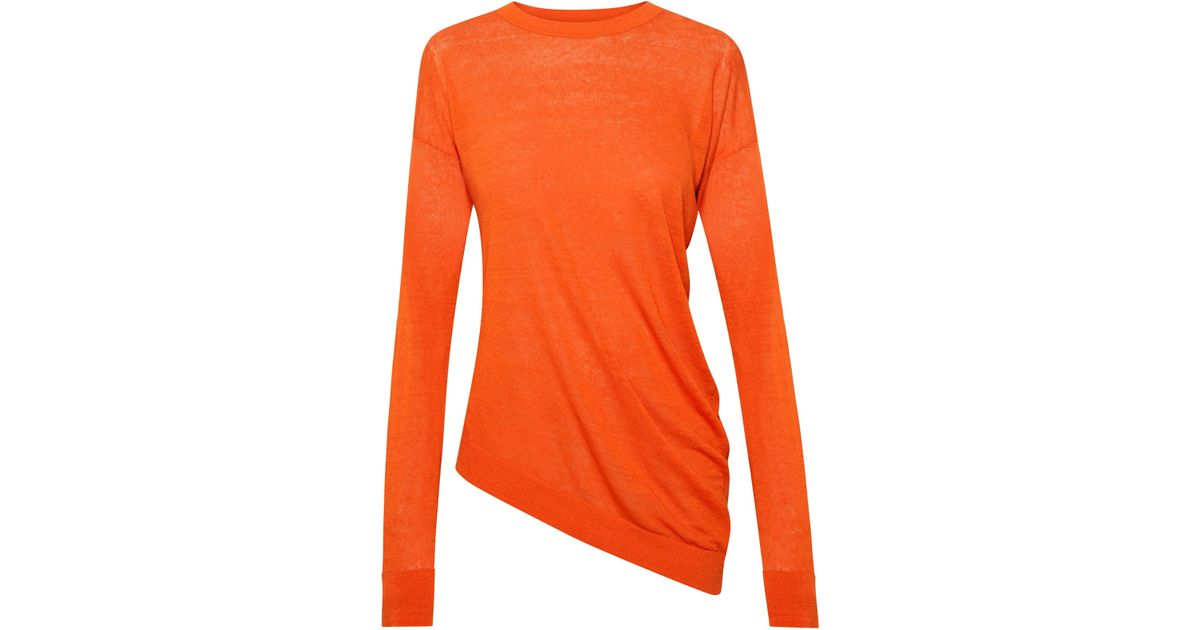 e89fdeb15c Theory Women's Sag Harbor Asymmetric Long-sleeve Top - Coral in Orange -  Lyst