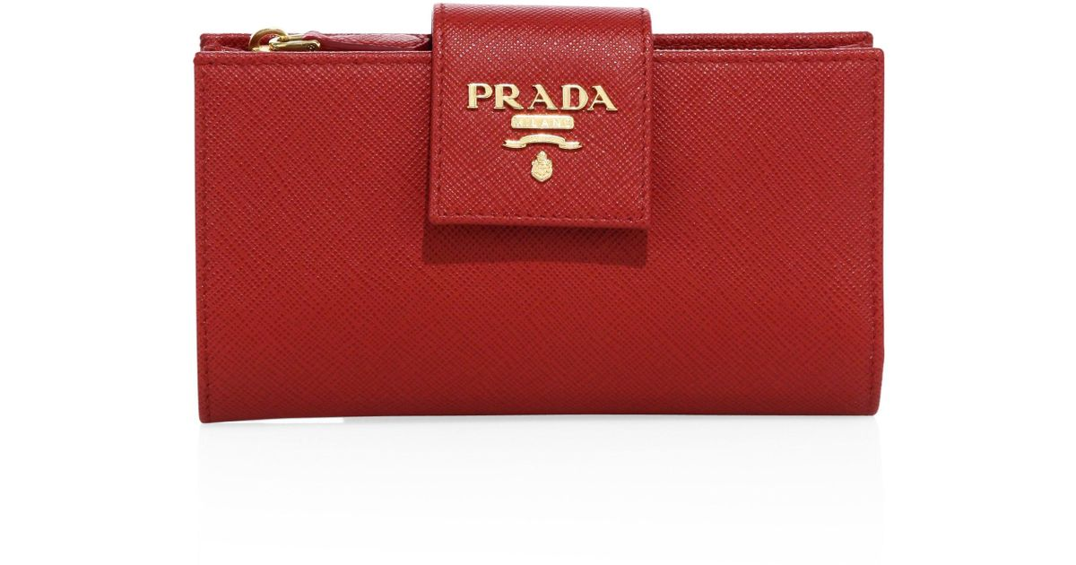 b0b283a03755 ... spain prada saffiano leather tab wallet in red lyst 6d637 ee54a