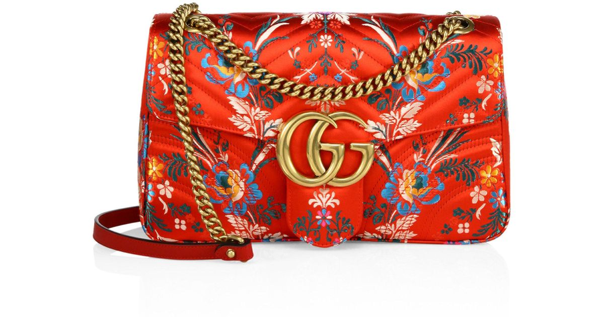 e33fa4527c27 Gucci Small Gg Marmont Matelasse Floral Jacquard Chain Shoulder Bag in Red  - Lyst