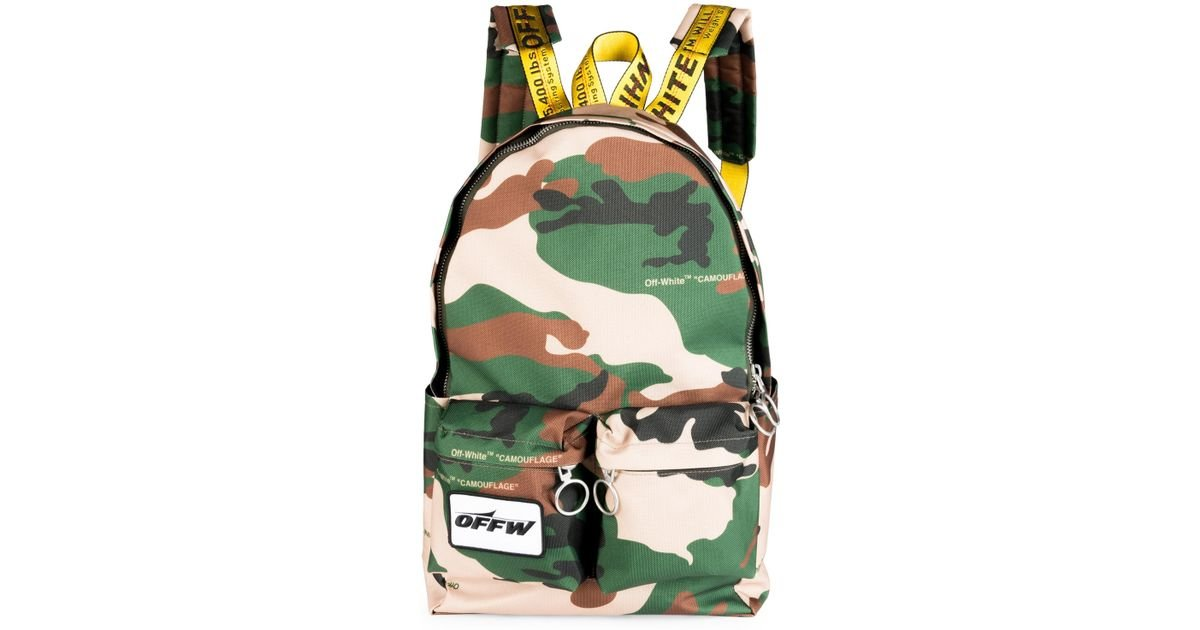 2de3414c13f4 Off-White c o Virgil Abloh Camouflage Textured Backpack in Green for Men -  Lyst