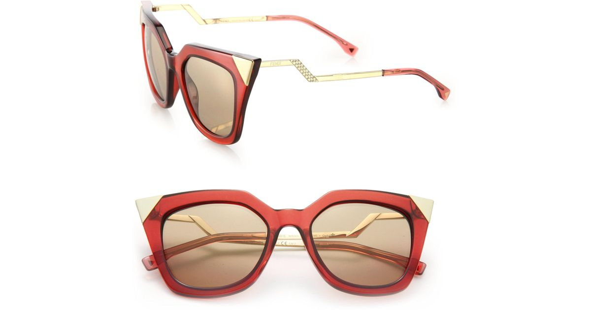 faec8aae8 Fendi Zig-zag 52mm Cat Eye Sunglasses in Metallic - Lyst