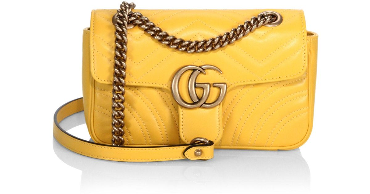 7bbcc913f Gucci Mini Gg Marmont Matelasse Shoulder Bag in Yellow - Lyst