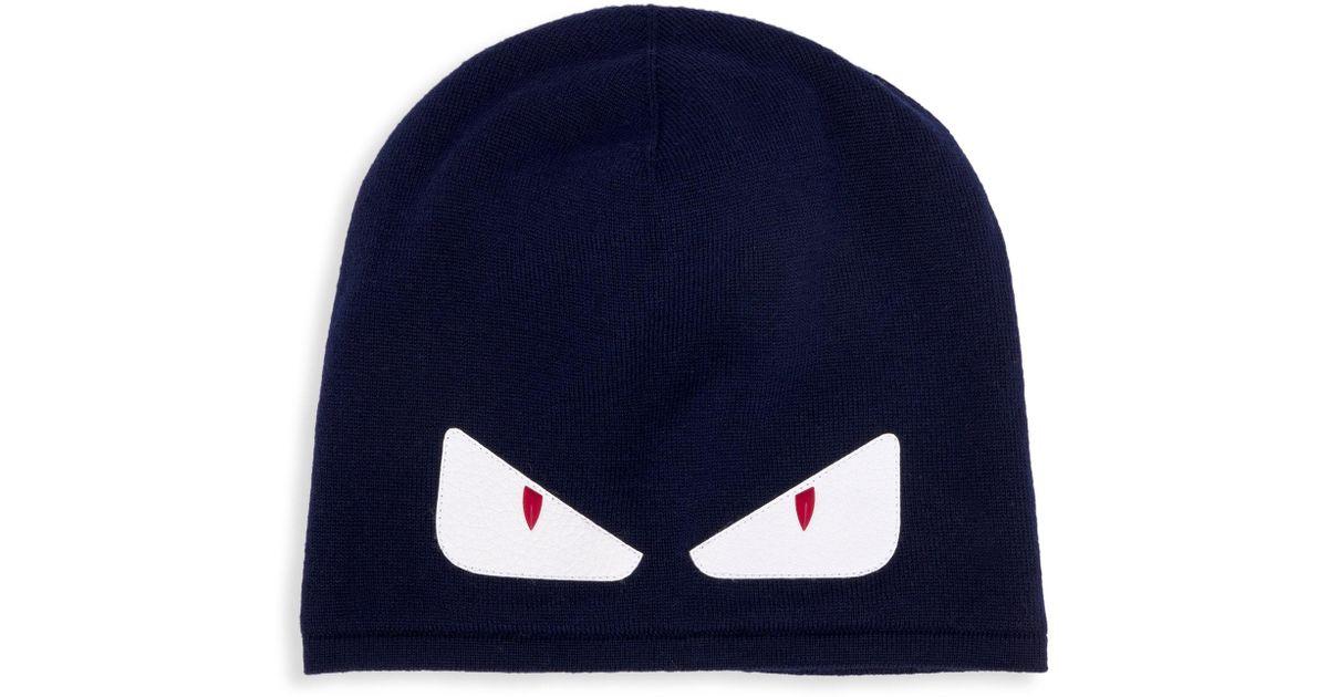 87fc0eeb652 Fendi Bag Bugs Wool Hat in Blue for Men - Lyst