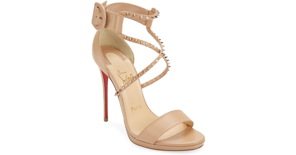 2927097640f8 Christian Louboutin Choca 120 Studded Sandals in Natural - Lyst