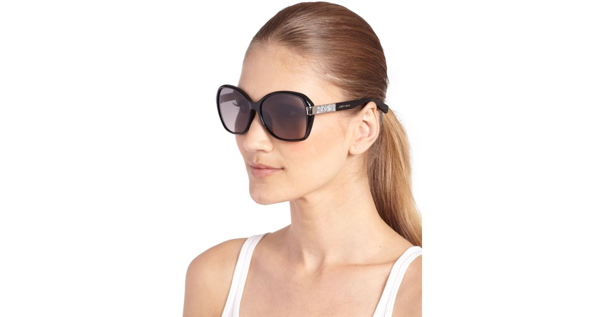 Jimmy Choo Alana 57mm Butterfly Sunglasses in Black - Lyst 96f7969a7d