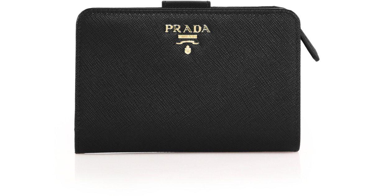 ed2f09e7fe37 ... ireland lyst prada medium saffiano leather tab wallet in black 0f0b1  15c3b