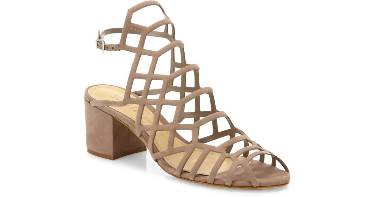 e8a79526c4fe Lyst - Schutz Women s Bollie Suede Caged Block Heel Sandals - Jeans - Size  6.5